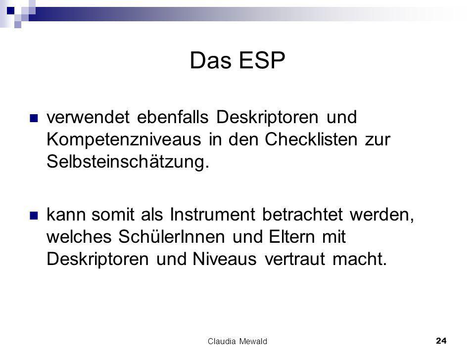 Claudia Mewald24 Das ESP verwendet ebenfalls Deskriptoren und Kompetenzniveaus in den Checklisten zur Selbsteinschätzung.
