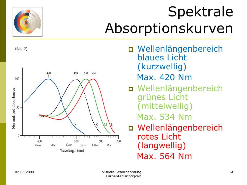 Visuelle Wahrnehmung - Farbenfehlsichtigkeit 13 02.06.2009 13 Spektrale Absorptionskurven  Wellenlängenbereich blaues Licht (kurzwellig) Max. 420 Nm