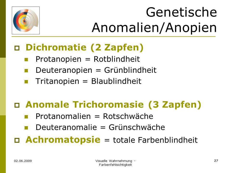 Visuelle Wahrnehmung - Farbenfehlsichtigkeit 27 Genetische Anomalien/Anopien  Dichromatie (2 Zapfen) Protanopien = Rotblindheit Deuteranopien = Grünb