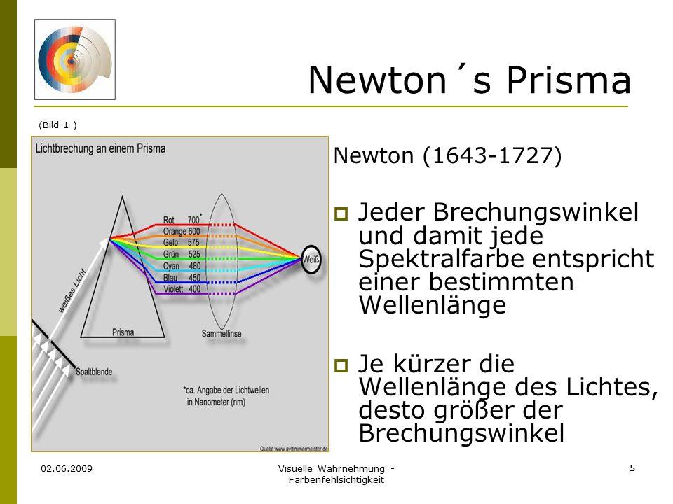 Visuelle Wahrnehmung - Farbenfehlsichtigkeit 5 02.06.2009 5 Newton´s Prisma Newton (1643-1727)  Jeder Brechungswinkel und damit jede Spektralfarbe en