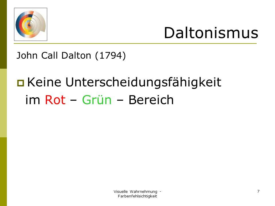 Visuelle Wahrnehmung - Farbenfehlsichtigkeit 7 Daltonismus John Call Dalton (1794)  Keine Unterscheidungsfähigkeit im Rot – Grün – Bereich