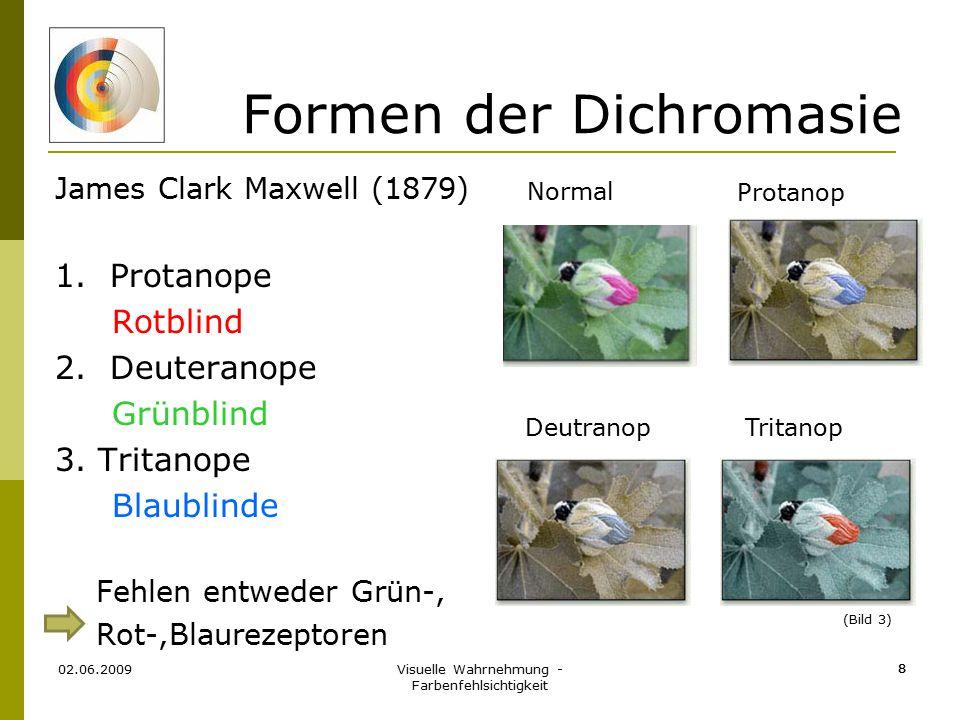 Visuelle Wahrnehmung - Farbenfehlsichtigkeit 8 02.06.2009 8 Formen der Dichromasie James Clark Maxwell (1879) 1. Protanope Rotblind 2. Deuteranope Grü