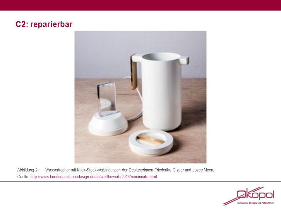C2: reparierbar Abbildung 2:Wasserkocher mit Klick-Steck-Verbindungen der Designerinnen Friederike Glaser und Joyce Moore Quelle: http://www.bundespreis-ecodesign.de/de/wettbewerb/2013/nominierte.htmlhttp://www.bundespreis-ecodesign.de/de/wettbewerb/2013/nominierte.html