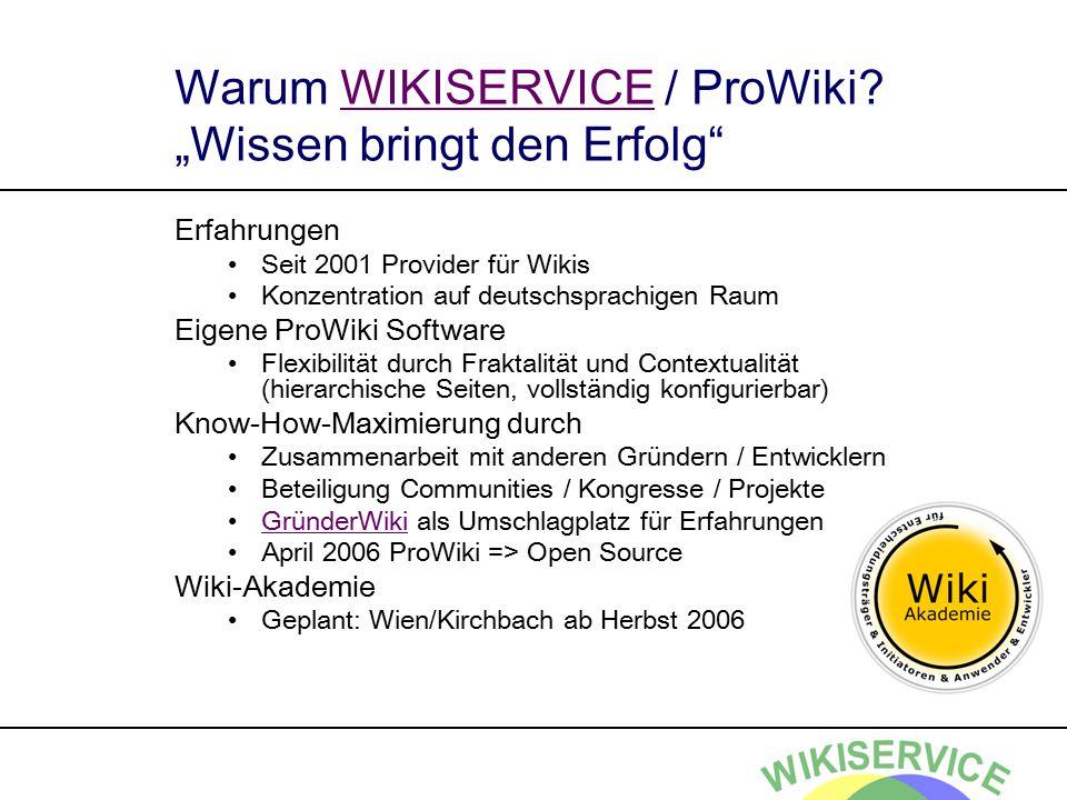 """Warum WIKISERVICE / ProWiki? """"Wissen bringt den Erfolg""""WIKISERVICE Erfahrungen Seit 2001 Provider für Wikis Konzentration auf deutschsprachigen Raum E"""