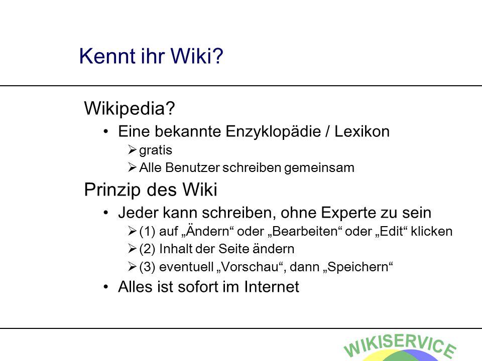 Wiki - Meilensteine 1995 – Erfindung 1999 – Wiki-Software verfügbar 2001 – 1.