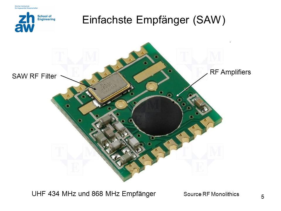 5 Einfachste Empfänger (SAW) UHF 434 MHz und 868 MHz Empfänger Source RF Monolithics SAW RF Filter RF Amplifiers