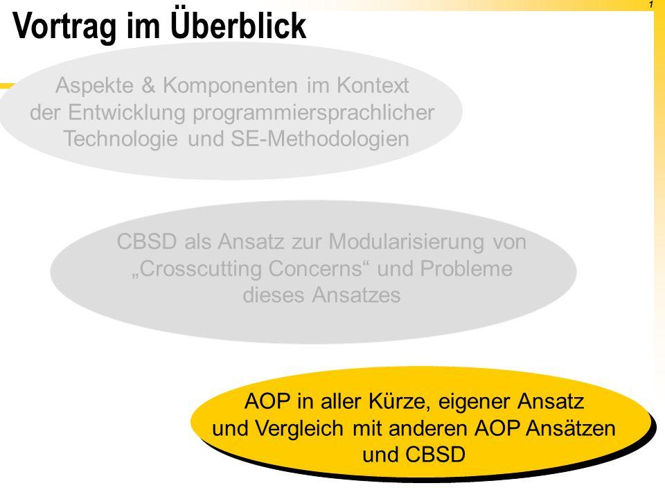 """1 Vortrag im Überblick AOP in aller Kürze, eigener Ansatz und Vergleich mit anderen AOP Ansätzen und CBSD CBSD als Ansatz zur Modularisierung von """"Cro"""