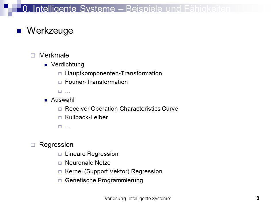 Vorlesung Intelligente Systeme 134 Hauptachsen und Hauptachsenabschnitte x1x1 x2x2 h 0,00 2,00 4,00 6,00 8,00 10,00 12,00 14,00 0,005,0010,0015,00 Empirische Kovarianz-Matrix 1.