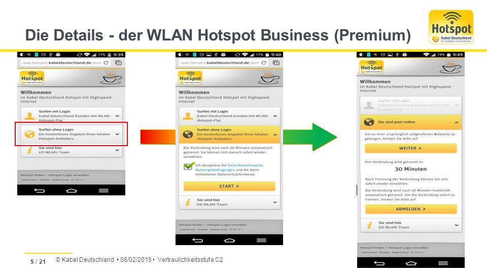 © Kabel Deutschland 08/02/2015 Vertraulichkeitsstufe C2 Die Details - der WLAN Hotspot Business (Premium) S / 21
