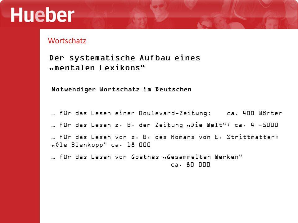 """Wortschatz Der systematische Aufbau eines """"mentalen Lexikons Notwendiger Wortschatz im Deutschen … für das Lesen einer Boulevard-Zeitung: ca."""