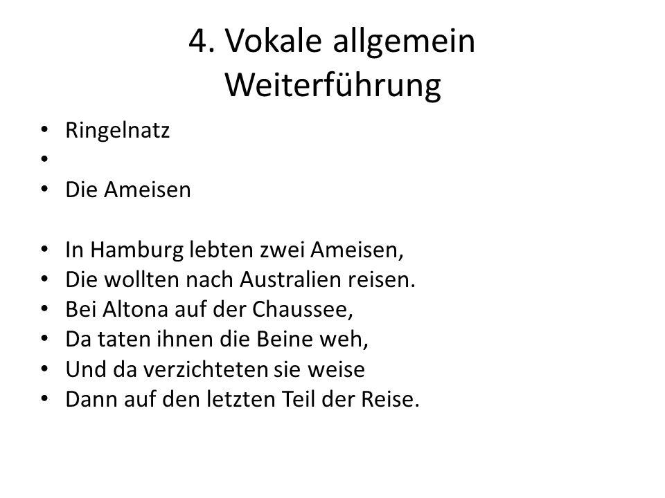 4. Vokale allgemein Weiterführung Ringelnatz Die Ameisen In Hamburg lebten zwei Ameisen, Die wollten nach Australien reisen. Bei Altona auf der Chauss