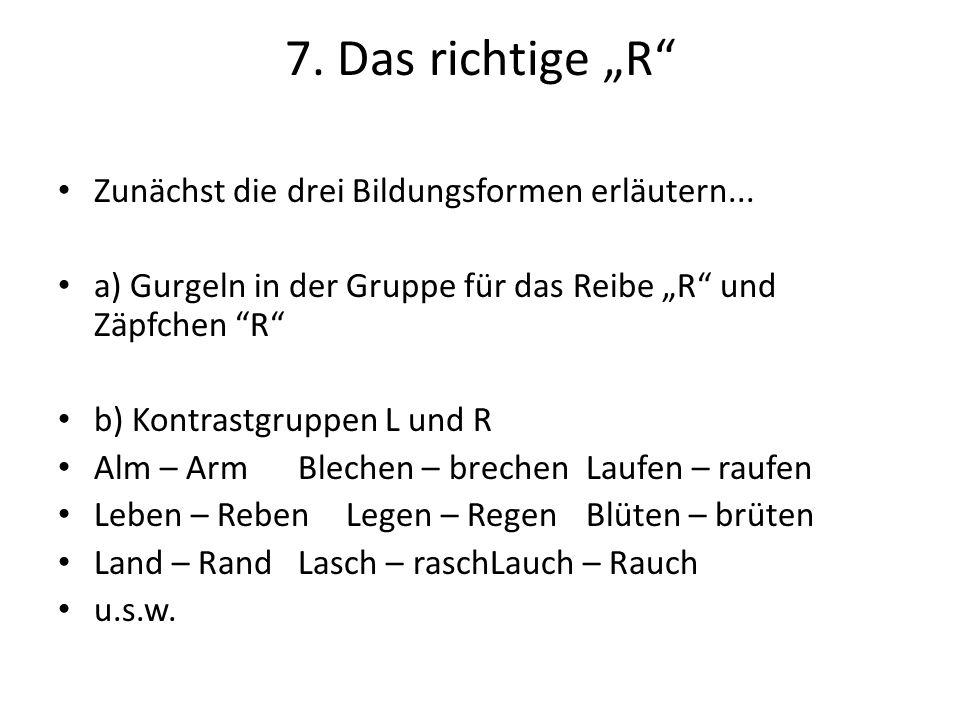 """7.Das richtige """"R Zunächst die drei Bildungsformen erläutern..."""