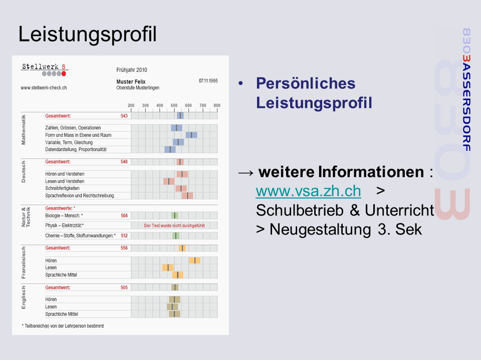 Leistungsprofil Persönliches Leistungsprofil → weitere Informationen : www.vsa.zh.ch > Schulbetrieb & Unterricht > Neugestaltung 3. Sek www.vsa.zh.ch