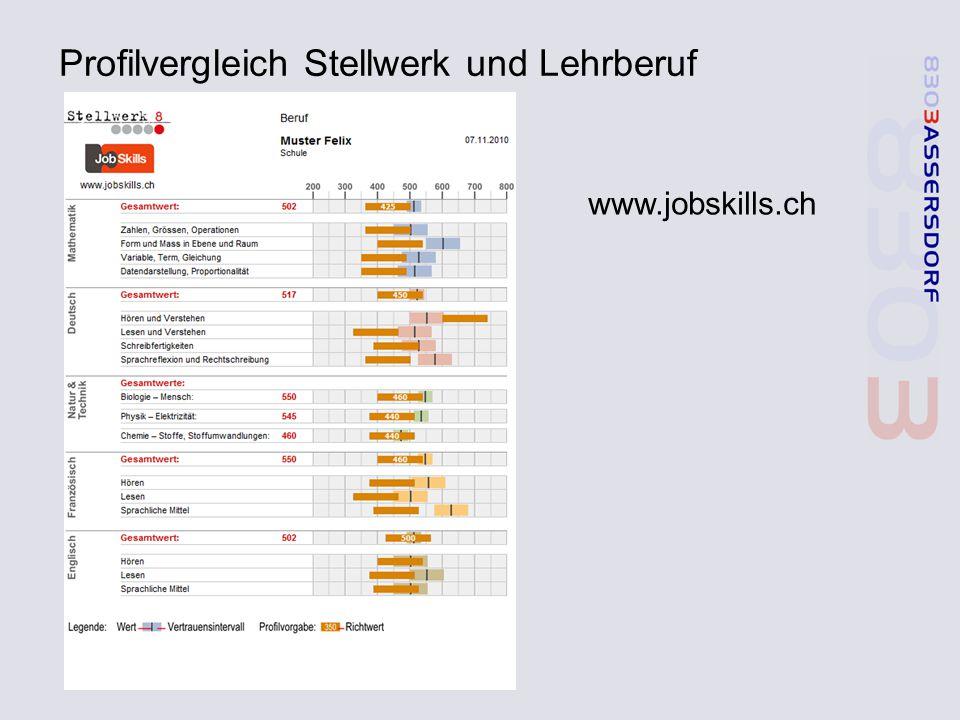 Profilvergleich Stellwerk und Lehrberuf www.jobskills.ch