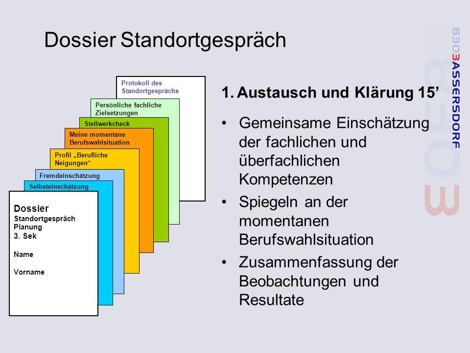 Dossier Standortgespräch 1.Austausch und Klärung 15' Gemeinsame Einschätzung der fachlichen und überfachlichen Kompetenzen Spiegeln an der momentanen