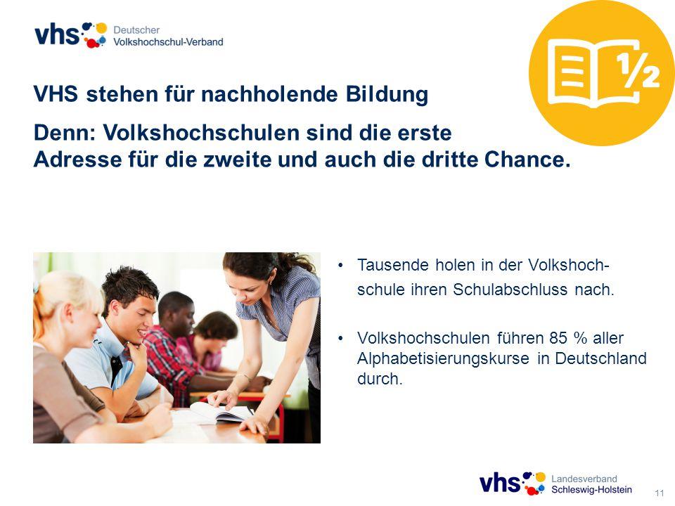 11 VHS stehen für nachholende Bildung Denn: Volkshochschulen sind die erste Adresse für die zweite und auch die dritte Chance.