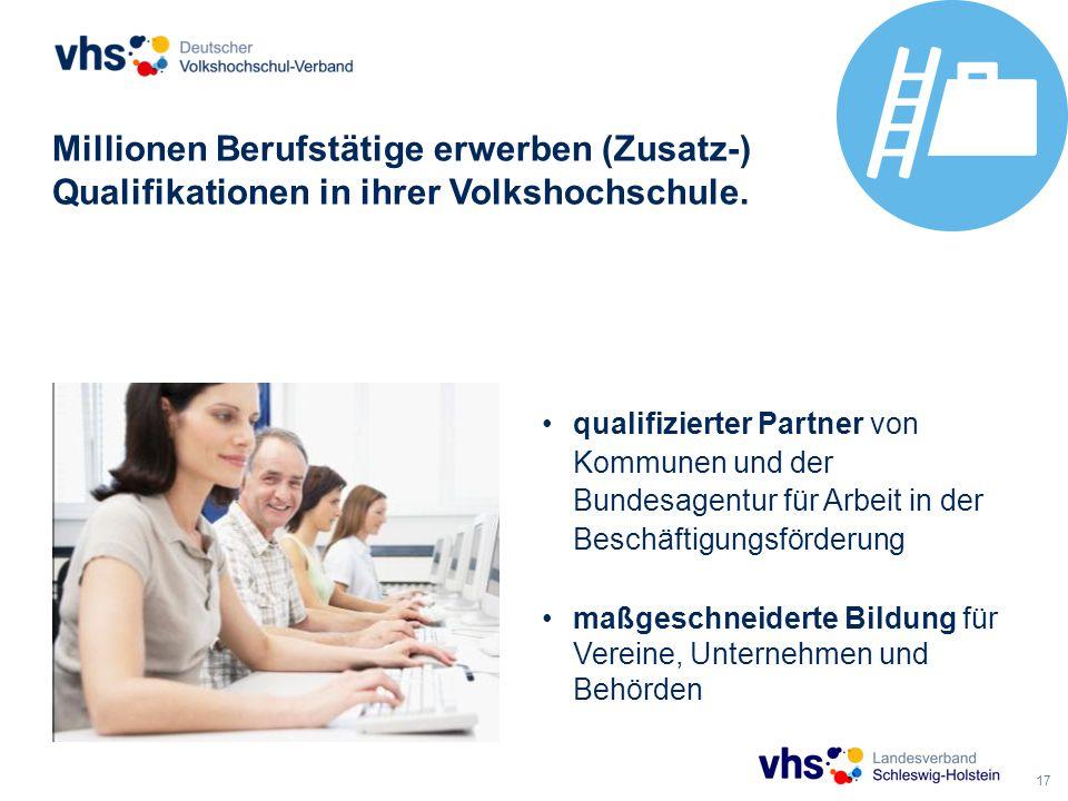 17 Millionen Berufstätige erwerben (Zusatz-) Qualifikationen in ihrer Volkshochschule.