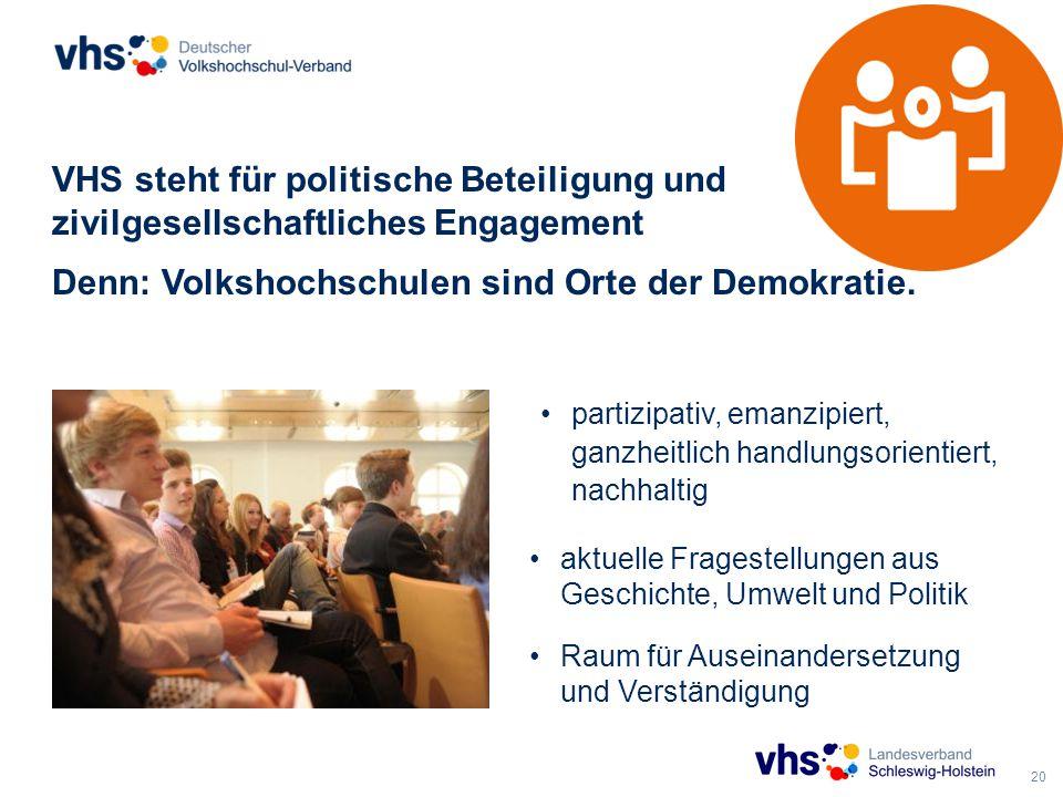 20 VHS steht für politische Beteiligung und zivilgesellschaftliches Engagement Denn: Volkshochschulen sind Orte der Demokratie.