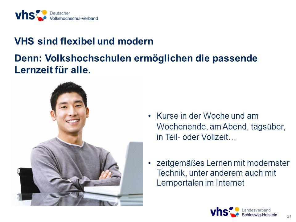 21 VHS sind flexibel und modern Denn: Volkshochschulen ermöglichen die passende Lernzeit für alle.