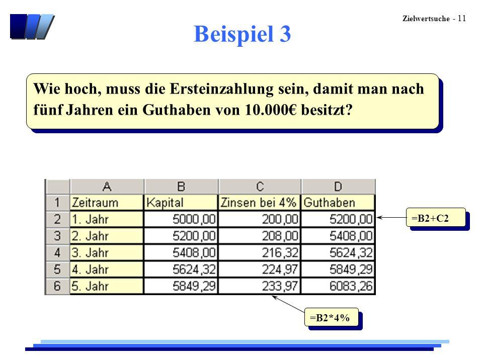 Zielwertsuche - 11 Beispiel 3 Wie hoch, muss die Ersteinzahlung sein, damit man nach fünf Jahren ein Guthaben von 10.000€ besitzt? =B2*4% =B2+C2