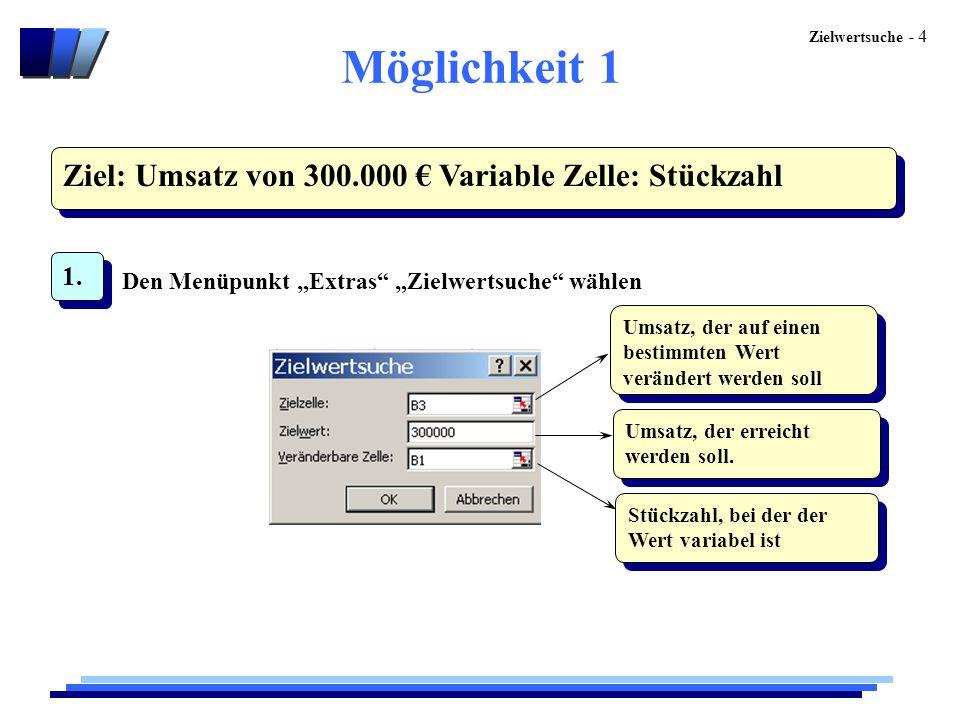 """Zielwertsuche - 4 Möglichkeit 1 Ziel: Umsatz von 300.000 € Variable Zelle: Stückzahl 1. Den Menüpunkt """"Extras"""" """"Zielwertsuche"""" wählen Umsatz, der auf"""
