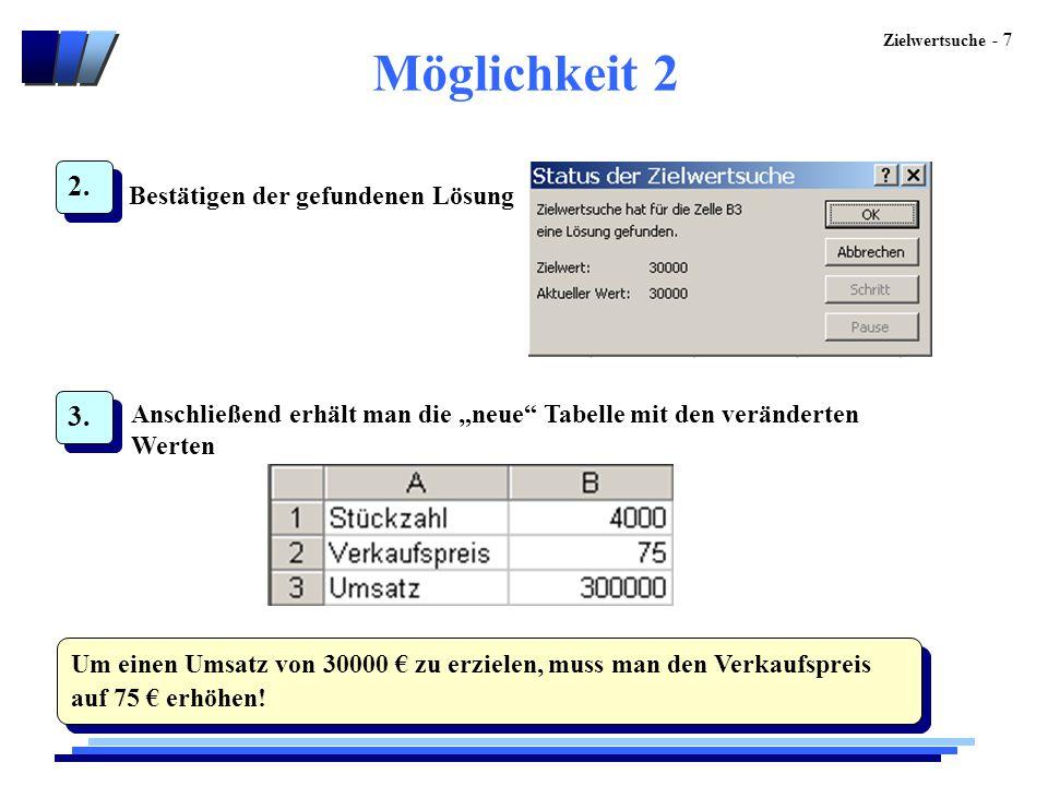"""Zielwertsuche - 7 Möglichkeit 2 2. Bestätigen der gefundenen Lösung 3. Anschließend erhält man die """"neue"""" Tabelle mit den veränderten Werten Um einen"""