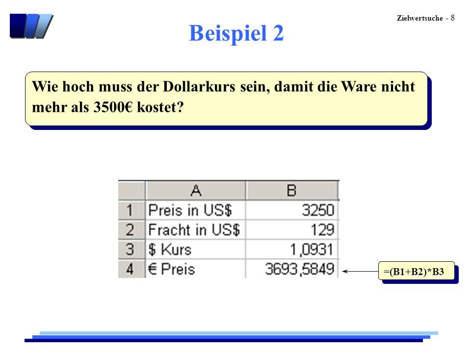 Zielwertsuche - 8 Beispiel 2 Wie hoch muss der Dollarkurs sein, damit die Ware nicht mehr als 3500€ kostet? =(B1+B2)*B3