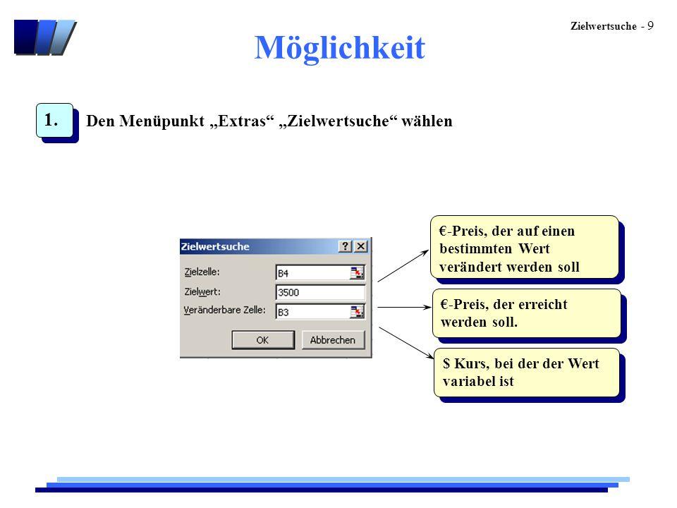 """Zielwertsuche - 9 Möglichkeit 1. Den Menüpunkt """"Extras"""" """"Zielwertsuche"""" wählen €-Preis, der auf einen bestimmten Wert verändert werden soll €-Preis, d"""