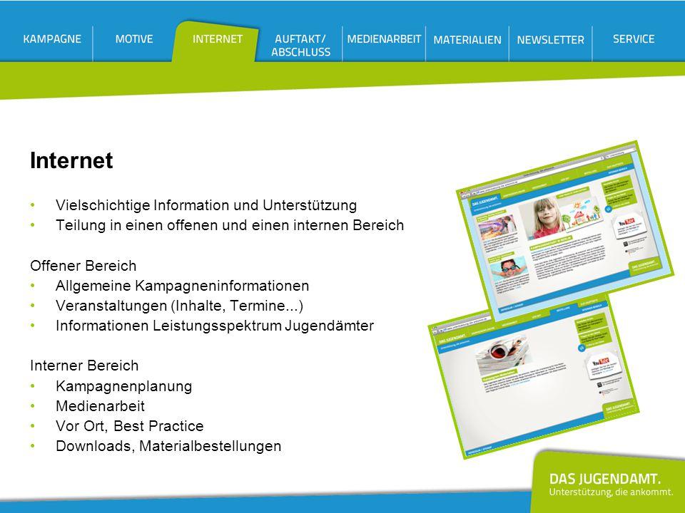 Vielschichtige Information und Unterstützung Teilung in einen offenen und einen internen Bereich Offener Bereich Allgemeine Kampagneninformationen Ver