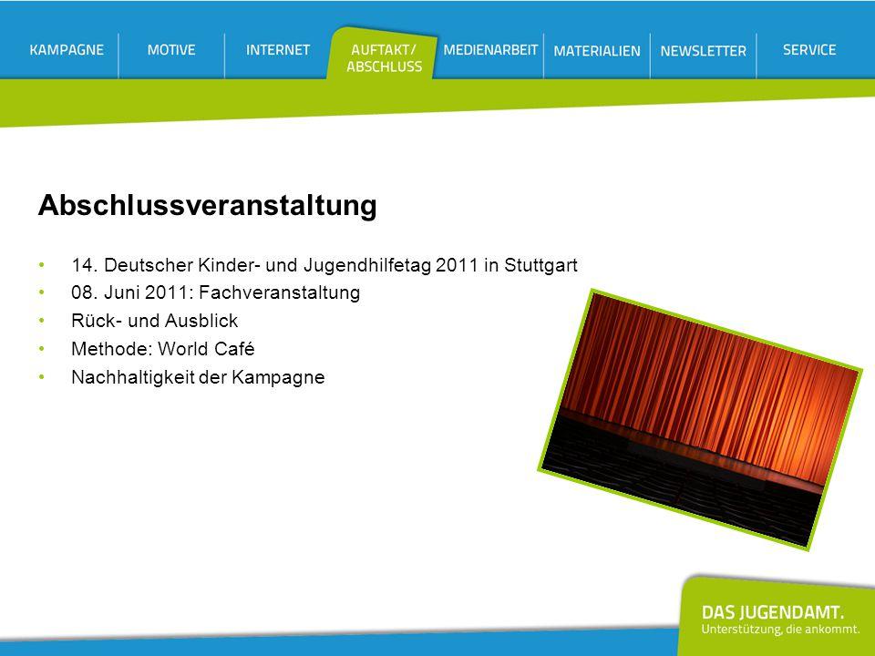 Abschlussveranstaltung 14. Deutscher Kinder- und Jugendhilfetag 2011 in Stuttgart 08. Juni 2011: Fachveranstaltung Rück- und Ausblick Methode: World C