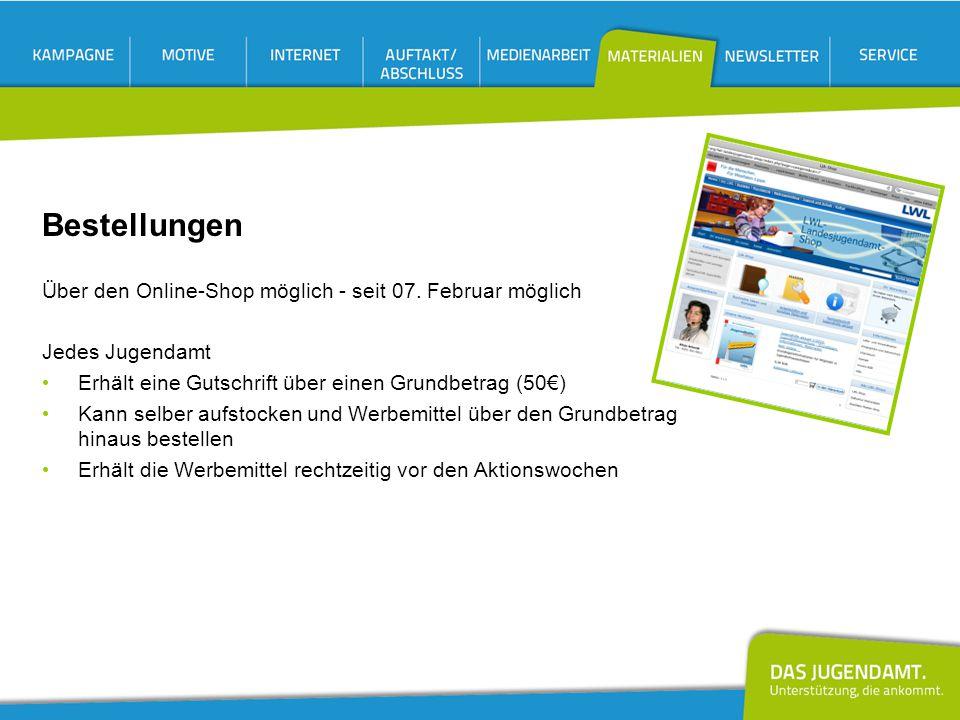 Bestellungen Über den Online-Shop möglich - seit 07. Februar möglich Jedes Jugendamt Erhält eine Gutschrift über einen Grundbetrag (50€) Kann selber a