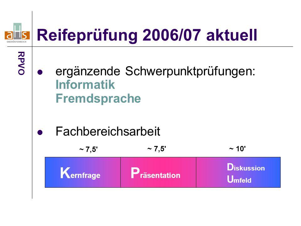 ergänzende Schwerpunktprüfungen: Informatik Fremdsprache Fachbereichsarbeit Reifeprüfung 2006/07 aktuell RPVO D iskussion U mfeld K ernfrage P räsentation ~ 7,5 ~ 10