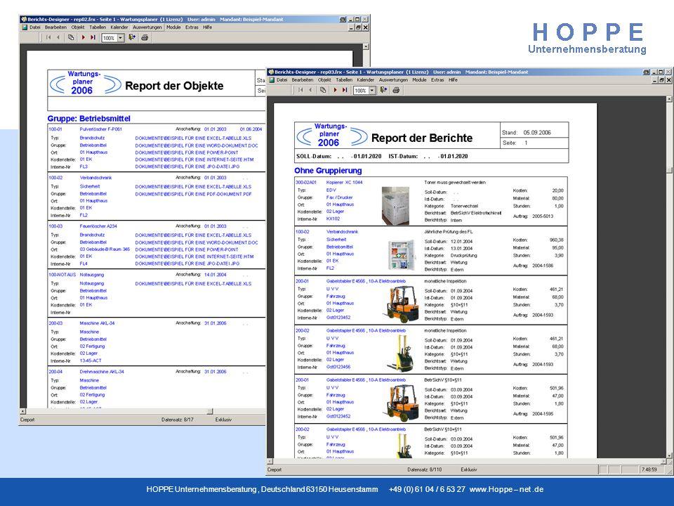 Wartungsplaner HOPPE Unternehmensberatung, Deutschland 63150 Heusenstamm +49 (0) 61 04 / 6 53 27 www.Hoppe – net.de