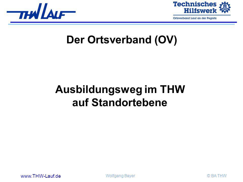 www.THW-Lauf.de Wolfgang Bayer© BA THW Der Ortsverband (OV) Ausbildungsweg im THW auf Standortebene