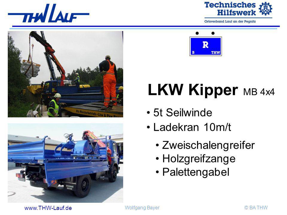 www.THW-Lauf.de Wolfgang Bayer© BA THW Zweischalengreifer Holzgreifzange Palettengabel LKW Kipper MB 4x4 5t Seilwinde Ladekran 10m/t