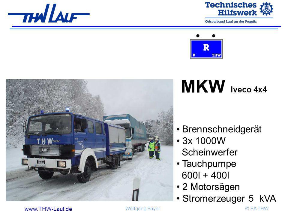 www.THW-Lauf.de Wolfgang Bayer© BA THW MKW Iveco 4x4 Brennschneidgerät 3x 1000W Scheinwerfer Tauchpumpe 600l + 400l 2 Motorsägen Stromerzeuger 5 kVA