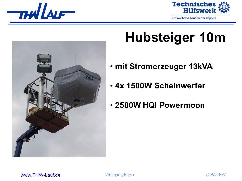 www.THW-Lauf.de Wolfgang Bayer© BA THW mit Stromerzeuger 13kVA 4x 1500W Scheinwerfer 2500W HQI Powermoon Hubsteiger 10m
