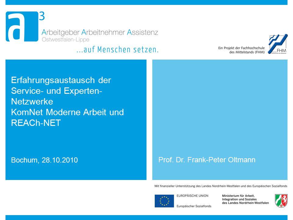 Erfahrungsaustausch der Service- und Experten- Netzwerke KomNet Moderne Arbeit und REACh-NET Bochum, 28.10.2010 Prof. Dr. Frank-Peter Oltmann