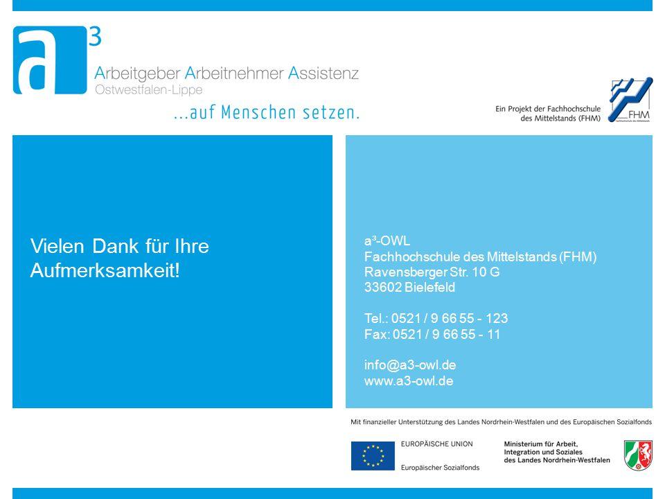 Vielen Dank für Ihre Aufmerksamkeit! a³-OWL Fachhochschule des Mittelstands (FHM) Ravensberger Str. 10 G 33602 Bielefeld Tel.: 0521 / 9 66 55 - 123 Fa