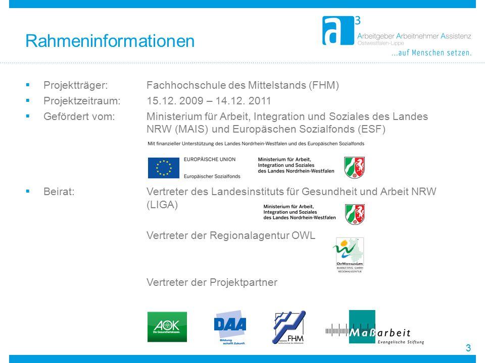  Projektträger:Fachhochschule des Mittelstands (FHM)  Projektzeitraum: 15.12. 2009 – 14.12. 2011  Gefördert vom: Ministerium für Arbeit, Integratio