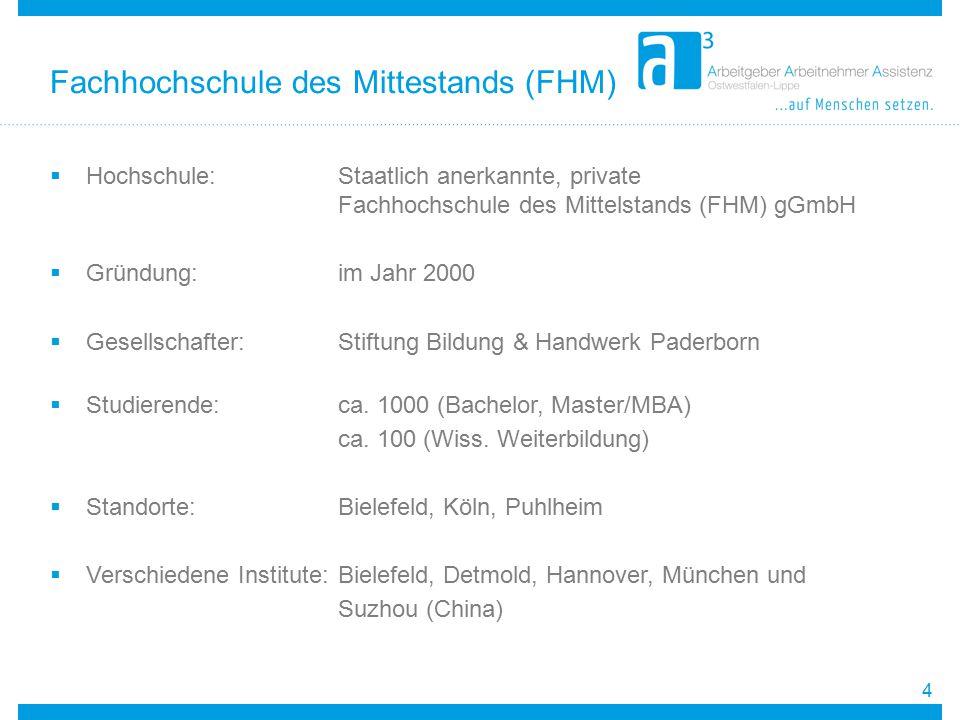  Hochschule:Staatlich anerkannte, private Fachhochschule des Mittelstands (FHM) gGmbH  Gründung: im Jahr 2000  Gesellschafter:Stiftung Bildung & Ha