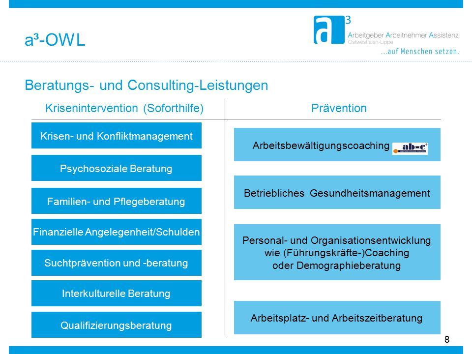 Beratungs- und Consulting-Leistungen 8 Krisenintervention (Soforthilfe) Krisen- und Konfliktmanagement Psychosoziale Beratung Familien- und Pflegebera