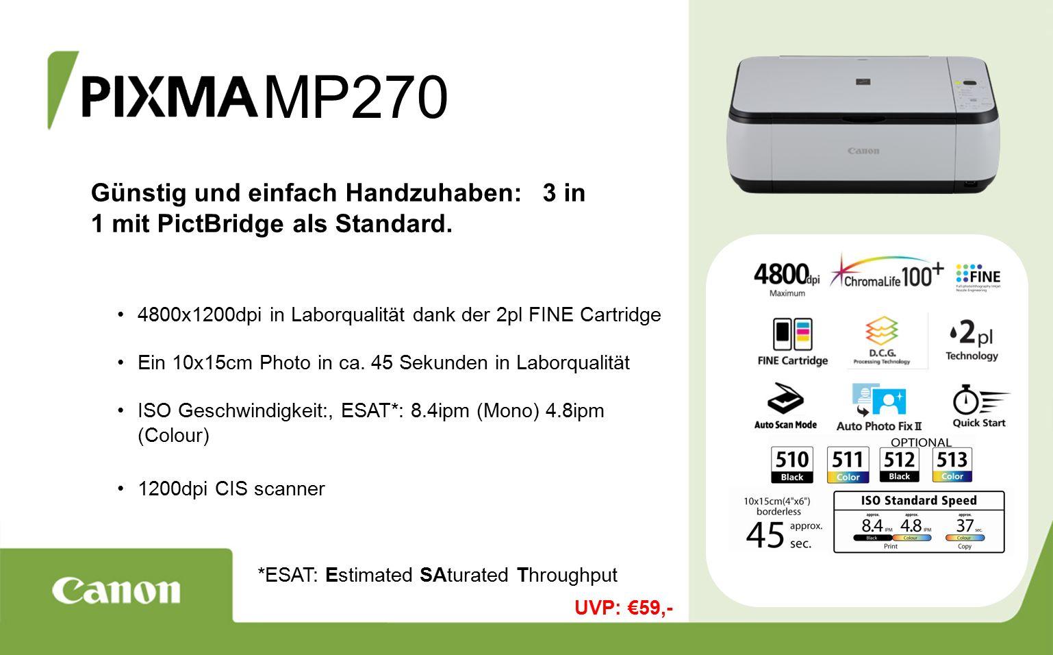 MP270 Günstig und einfach Handzuhaben: 3 in 1 mit PictBridge als Standard.