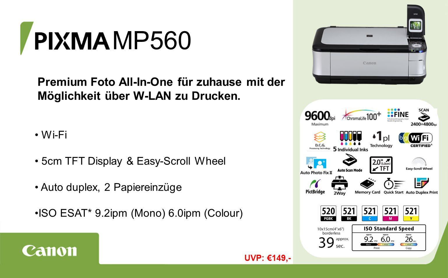 MP560 Premium Foto All-In-One für zuhause mit der Möglichkeit über W-LAN zu Drucken.