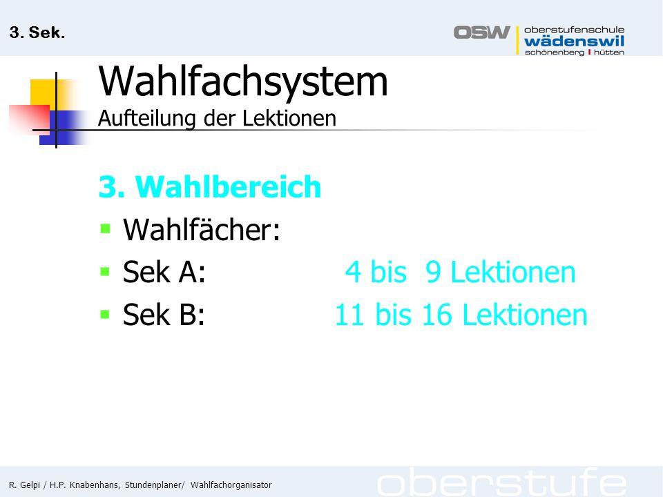 R. Gelpi / H.P. Knabenhans, Stundenplaner/ Wahlfachorganisator 3. Sek. Wahlfachsystem Aufteilung der Lektionen 3. Wahlbereich  Wahlfächer:  Sek A: 4
