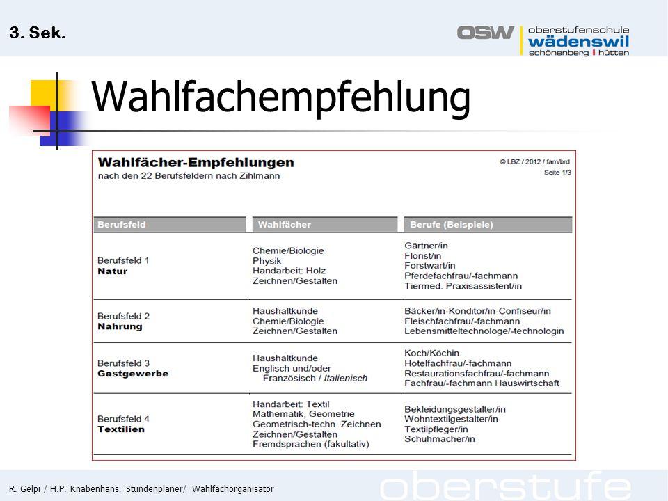 R. Gelpi / H.P. Knabenhans, Stundenplaner/ Wahlfachorganisator 3. Sek. Wahlfachempfehlung
