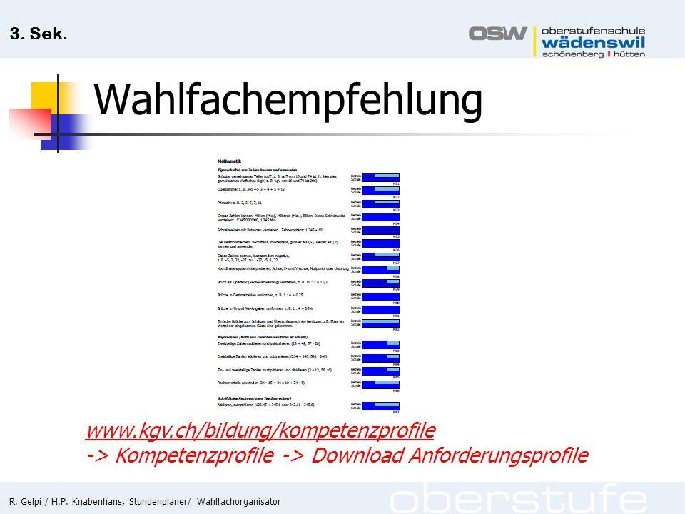 R. Gelpi / H.P. Knabenhans, Stundenplaner/ Wahlfachorganisator 3. Sek. Wahlfachempfehlung www.kgv.ch/bildung/kompetenzprofile -> Kompetenzprofile -> D