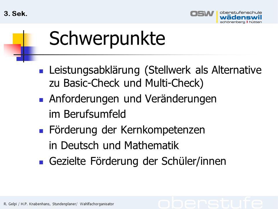 R. Gelpi / H.P. Knabenhans, Stundenplaner/ Wahlfachorganisator 3. Sek. Schwerpunkte Leistungsabklärung (Stellwerk als Alternative zu Basic-Check und M