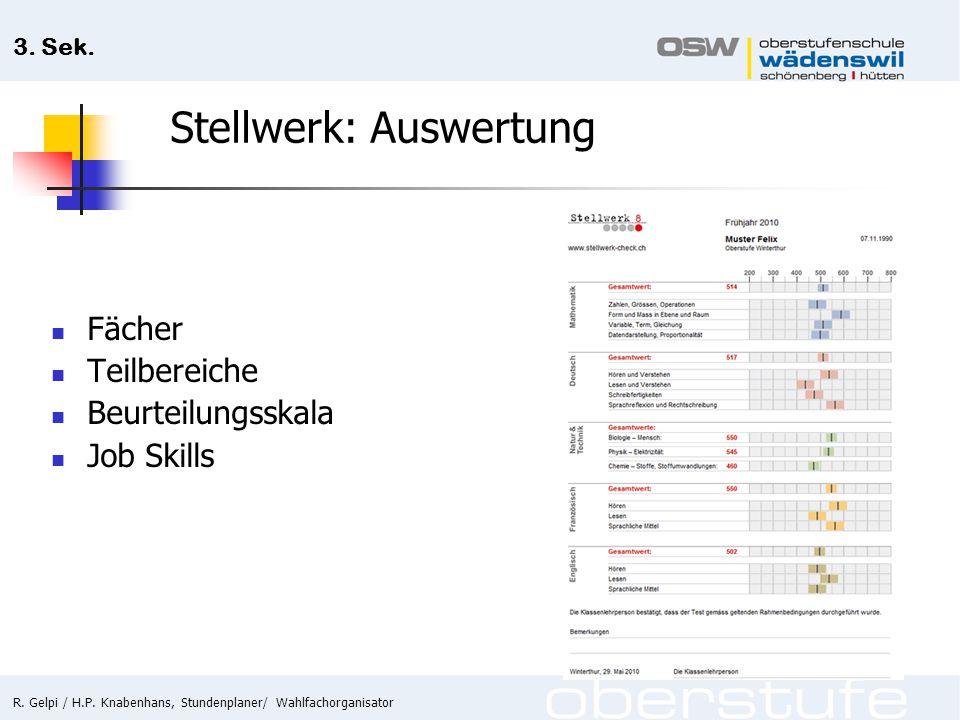 R. Gelpi / H.P. Knabenhans, Stundenplaner/ Wahlfachorganisator 3. Sek. Stellwerk: Auswertung Fächer Teilbereiche Beurteilungsskala Job Skills
