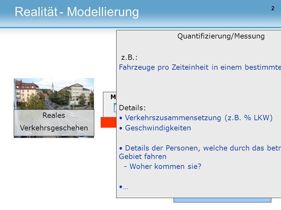 Markt Verkehrsnachfrage 2 Realität Reales Verkehrsgeschehen Verkehrsangebot Modellierung Einflussfaktoren z.B.